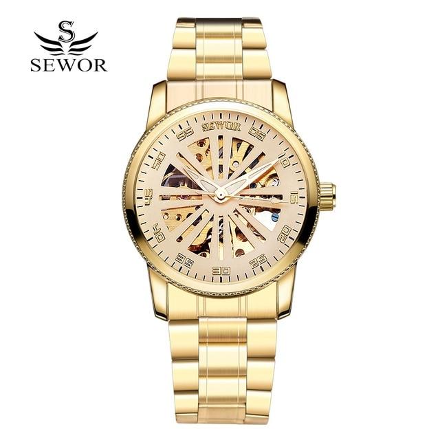 Luxury Top Brand Sewor Steel Watch Men Fashion Automatic Mechanical Wristwatch Clock Watches Men Gold Dress Business Watch