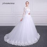 Yiwumensa vestidoデcasamentoロングスリーブアップリケのウェディングドレス2017 vestidoデnoiva curtoドレスボールガウンのウェディングドレ