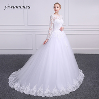 Yiwumensa Vestido De Casamento Long Sleeves Appliques Wedding Dress 2017 Vestido De Noiva Curto Dress Ball