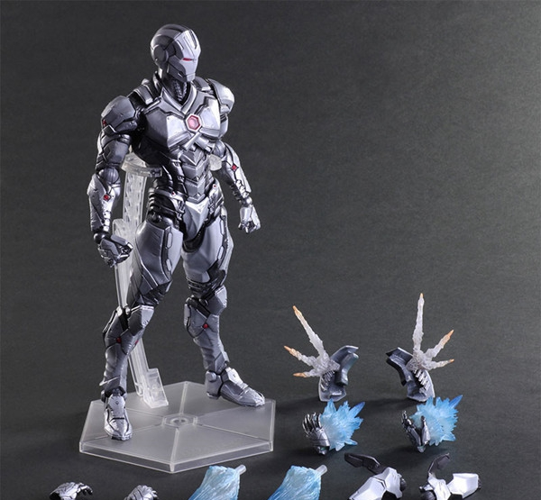 Play Arts Kai Iron Man Grey Limited Ver Age of Ultron Tony Stark Hulkbuster PA 27cm PVC Action Figure Toys Kids Gift Brinquedos