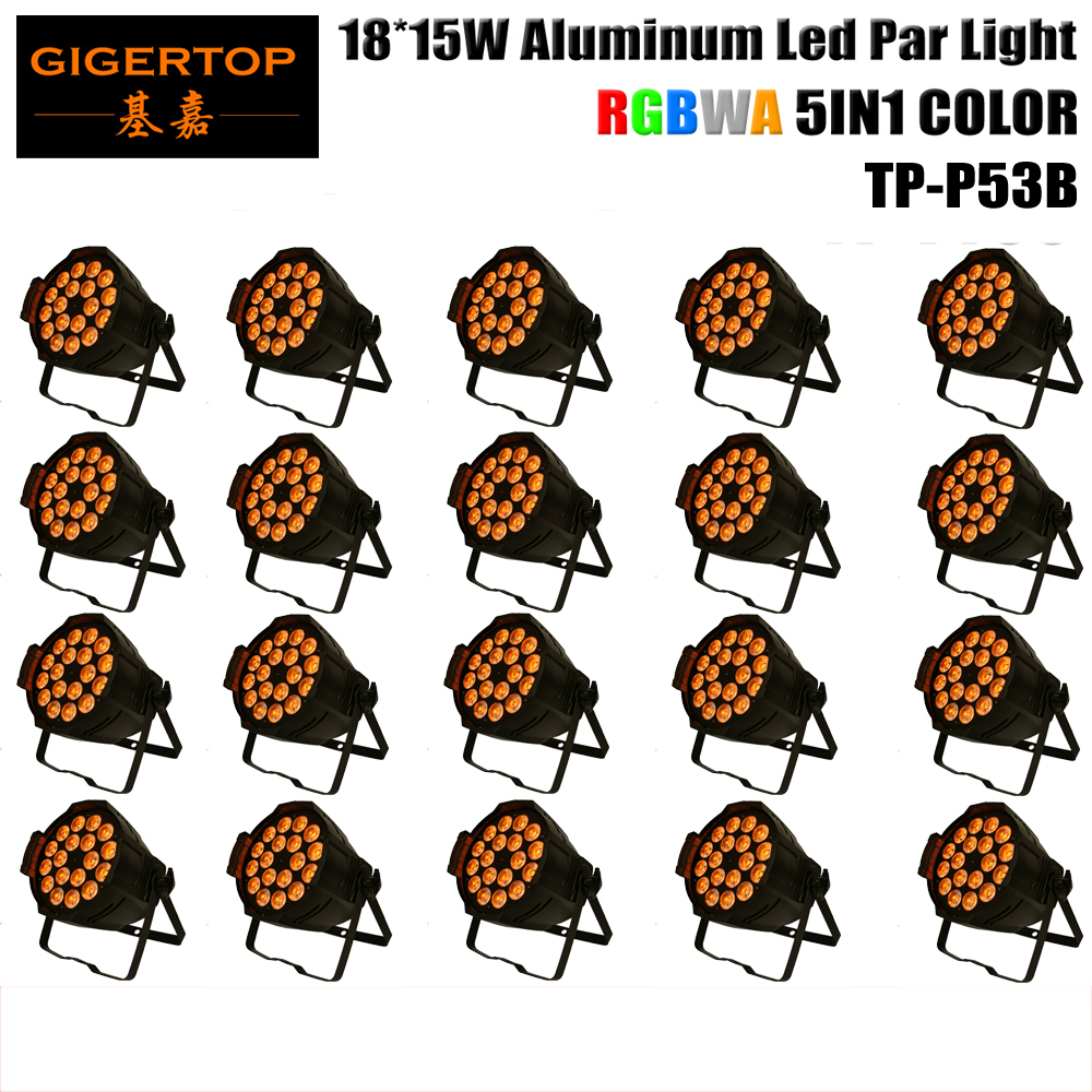 TIPTOP stage light 20pcs/lot 18x15W 5in1 RGBAW Aluminum DMX LED Flat Par Can,amber Color strobe wash effect For Disco Club Party