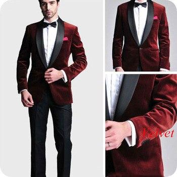 Men Wedding Suits 2019 Smoking Jacket Burgundy Velvet Groom Tuxedo 2Piece Best Man Blazer Costume Homme Slim Fit Terno Masculino