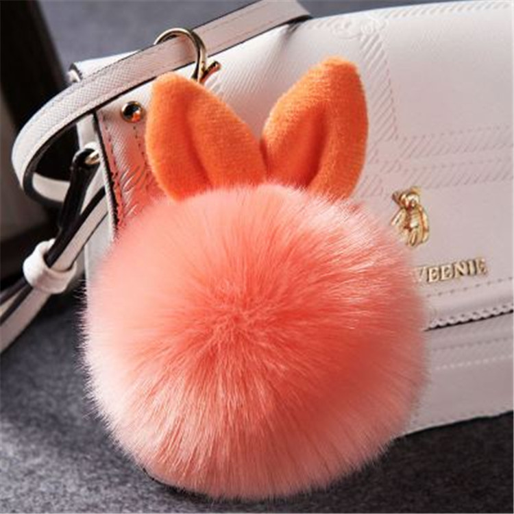 2017 Fur Pom Pom Keychain Fake Rabbit fur ball key chain porte clef pompom de fourrure pompon Bag Charms bunny keychain Keyring 47