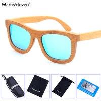 [Marte & Joven] Vintage Bamboe Frame Getinte Lenzen Gepolariseerde Zonnebril Vrouwen/Mannen Beste Anti-Glare Houten rijden Eyewear Bril