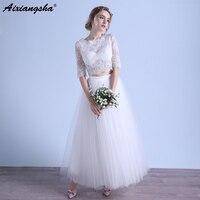 Two Pieces Prom Dresses 2018 Scoop Lace Half Sleeve Crop Top Prom Dress Elegant Long vestido de festa longo gala jurken abiti da