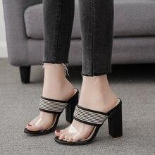 Купить с кэшбэком 2019 Summer New Rome Transparent Mules Shoes Women Fashion Retro Casual Women Sandals Sexy High Heels Open Toe Ladies Slippers
