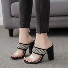 купить High Heel Block Heel Women Slippers Transparent Mules Shoes Women Summer Fashion Casual Women Sandals Open Toe Ladies Slippers по цене 1471.71 рублей
