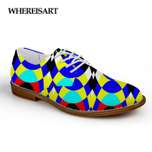 WHEREISART Women Shoes 3D Solid Mixed Color Print Leather Flats Female Casual Lace-up Fashion Man Oxford Zapatos Hombre