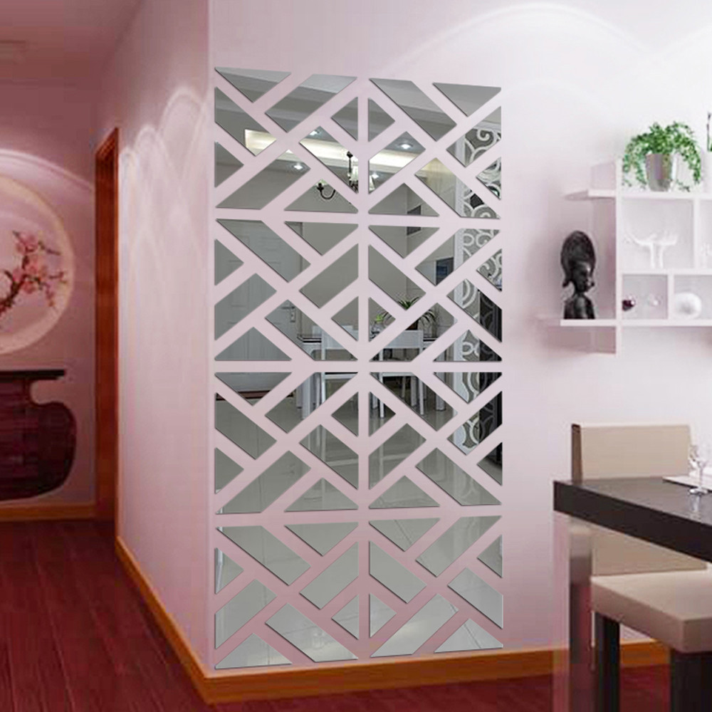 32pcs Set 3D Mirror Wall Sticker DIY Hollow Square 20*80CM Stickers Mirror Effect Hard A ...