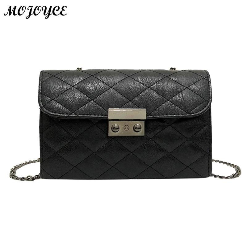 PU Leather Women Crossbody Bag Plaid Ladies Messenger Bags Casual Chain Trendy Candy Color Small Flap Shopping Handbag Clutch