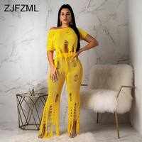 Yellow Knitted Two Piece Sets Tracksuit Women Festival Clothes One Shoulder Short Sleeve Crop Top And Hollow Hole Wide Leg Pants