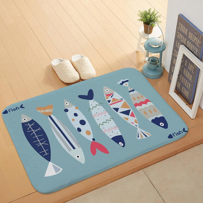 Animal Kitchen Doormat Rugs Floor Mat Fish Dog Cat Carpet Simple