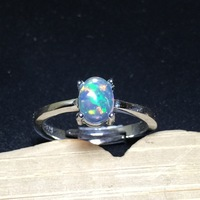Real Opal Stone Solid Silver 925 Thin Band Rings Women Fire Natural Stone Ring 100% 925 Sterling Silver Jewelry Women Simple