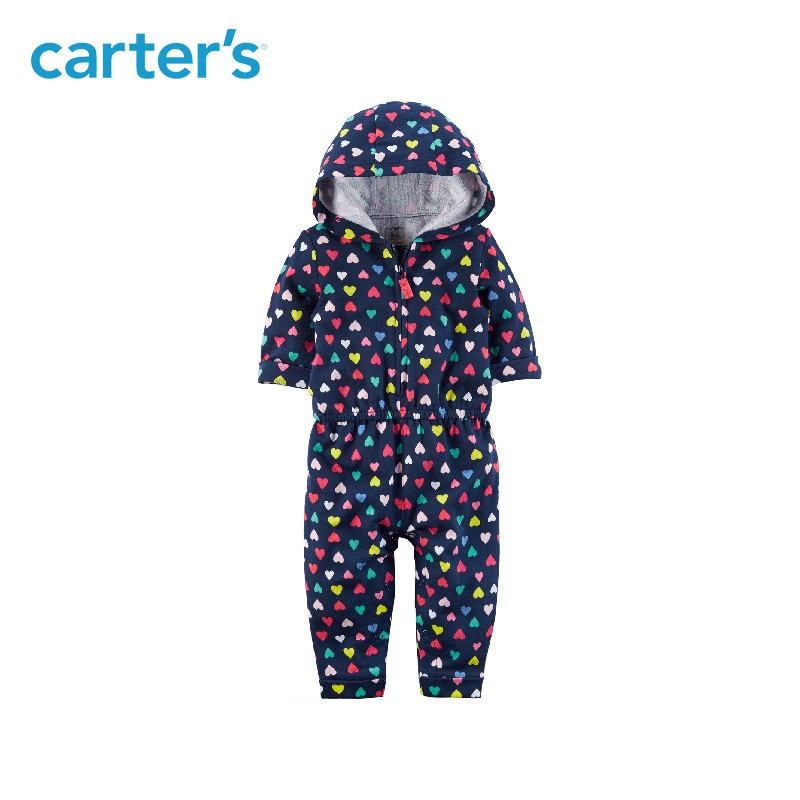 dc25af3a590 Carter s 1-Piece baby children kids clothing Girl Spring   Summer French  Terry Heart Hooded Jumpsuit 118H955