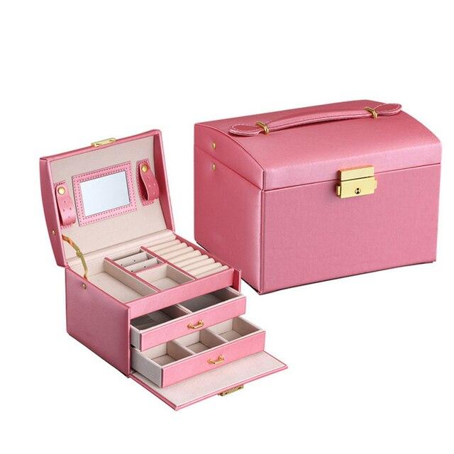Nueva moda mujeres maquillaje cajas de almacenamiento PU cuero automático regalo joyeros organizador estuche ataúd S4521