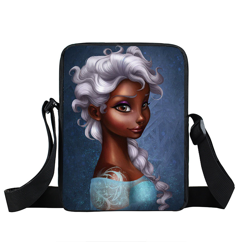 Afro Lady Girl messenger bag Africa Beauty Princess small shoulder bag brown women handbag mini totes teenager crossbody bags 40
