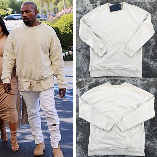 9a95800ad Kanye West Fashion Mens Drop Shoulder Oversized Hoodies Beige/Sand Color  Sweatshirts Hip Hop Streetwear Designer Clothes S-XXL