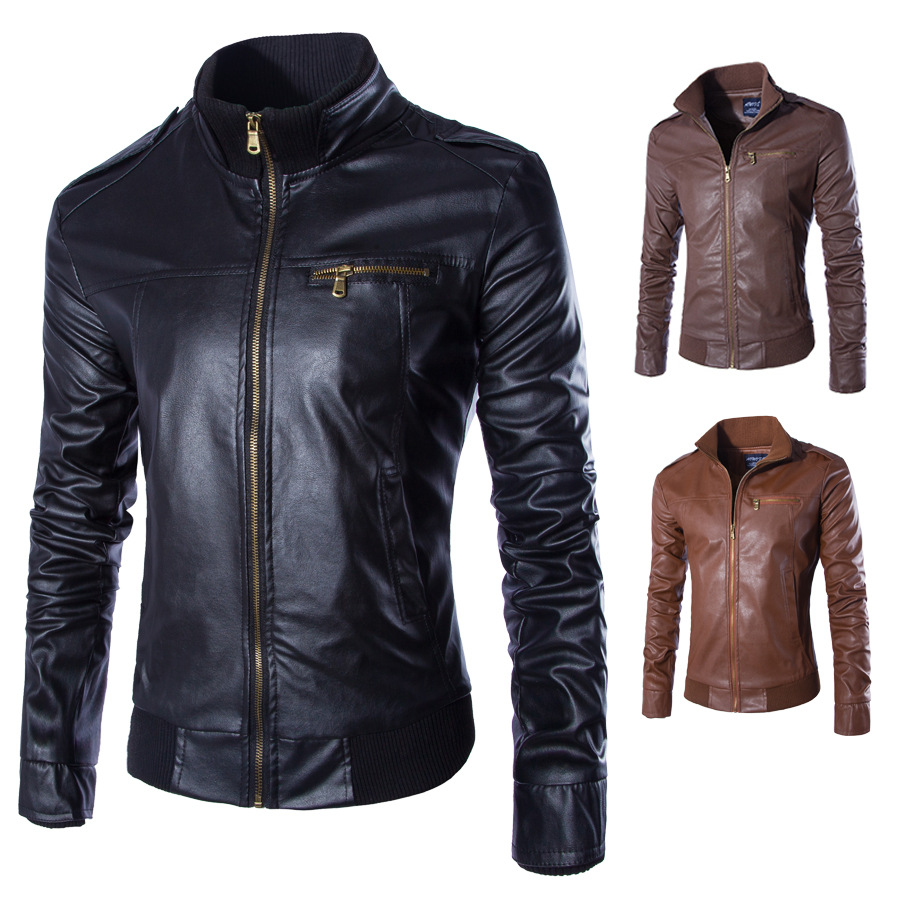 2018 PU Leather Jackets Newest Men Solid Business Casual Coats Autumn Leather Clothing Bomber Jacket