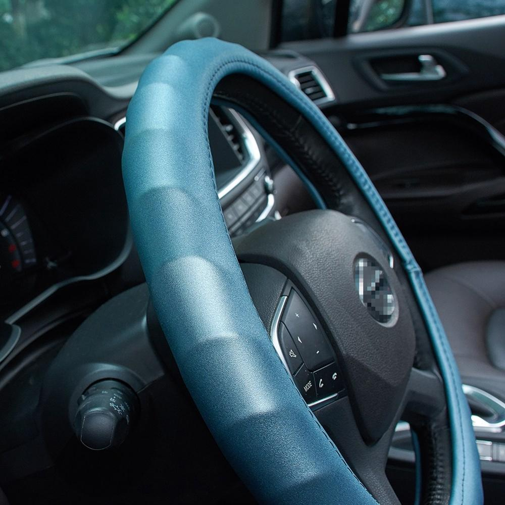 38cm Micro Fiber Leather Car Steering Wheel Cover Shiny Frosted Comfortable Auto Steering Wheel Cover Protection Cover(China)