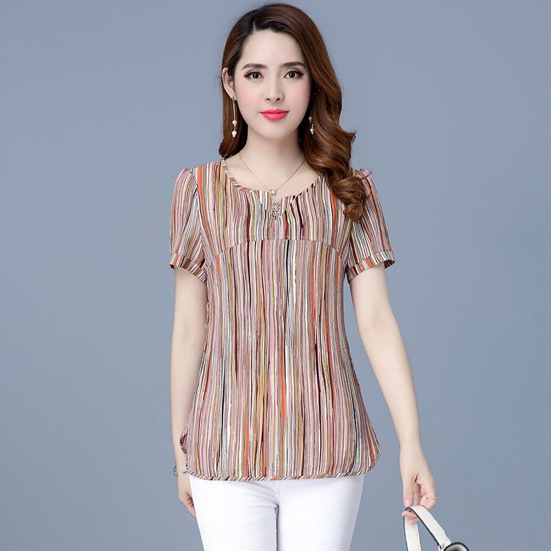 Women Spring Summer Style Chiffon   Blouses     Shirts   Lady Casual Striped Yellow Green Short Sleeve Blusas Tops DF2641