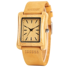 Rectangle Dial Wooden Watches for Men Natural Wood Bamboo An