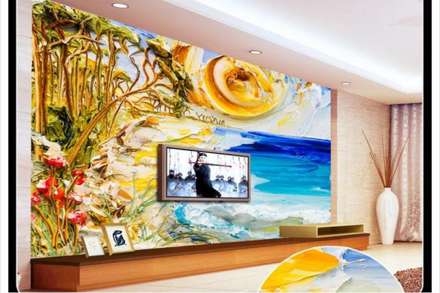 Custom Photo Wallpaper 3d Wall Murals Beach Style Painting Background Paintings Mural Home