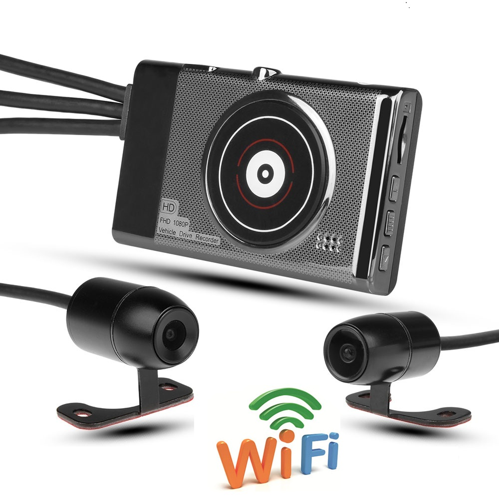 Motorcycle DVR Wifi Waterproof HD 1080P Dual Lens 3 Inch Screen Motorbike Dashcam Video Recorder With Wired Controller