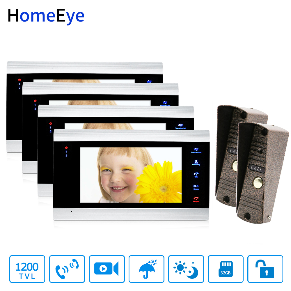 Wholesale Video Doorbell Video Intercom 2-4 Home Access Control System Motion Detection Multi-languages OSD Menu Touch Button