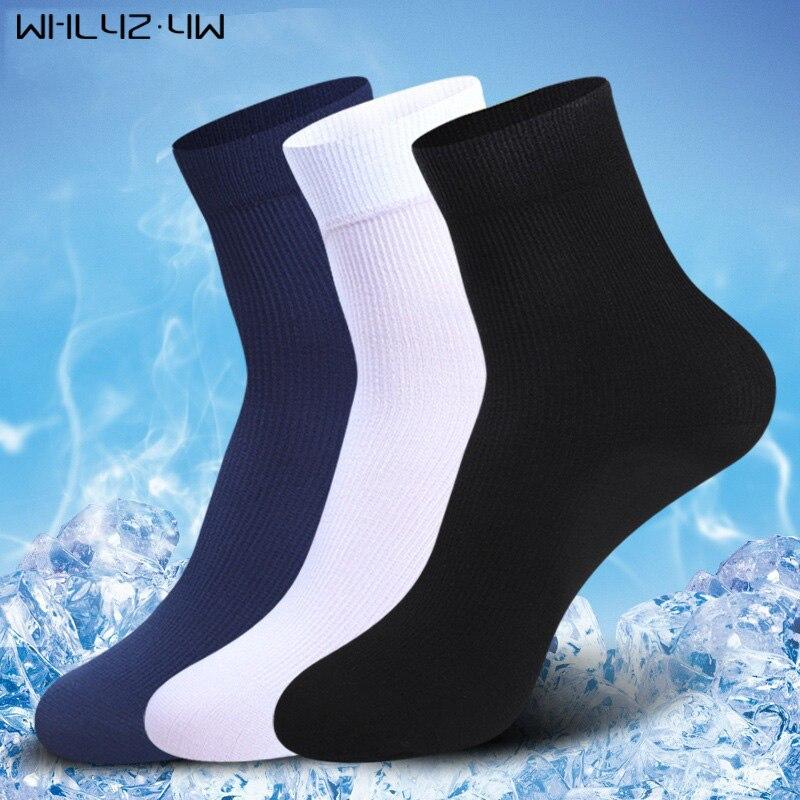 WHLYZ YW 10 Pairs/lot Brand New Men Bamboo Fiber Socks High Quality Business Casual Anti-Bacterial Man Long Work Cheap Socks
