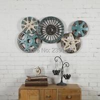 Vintage endüstriyel rüzgar metal renk tekerleği diş demir duvar resmi sanat yaratıcı Ev Mobilya bar duvar süslemeleri
