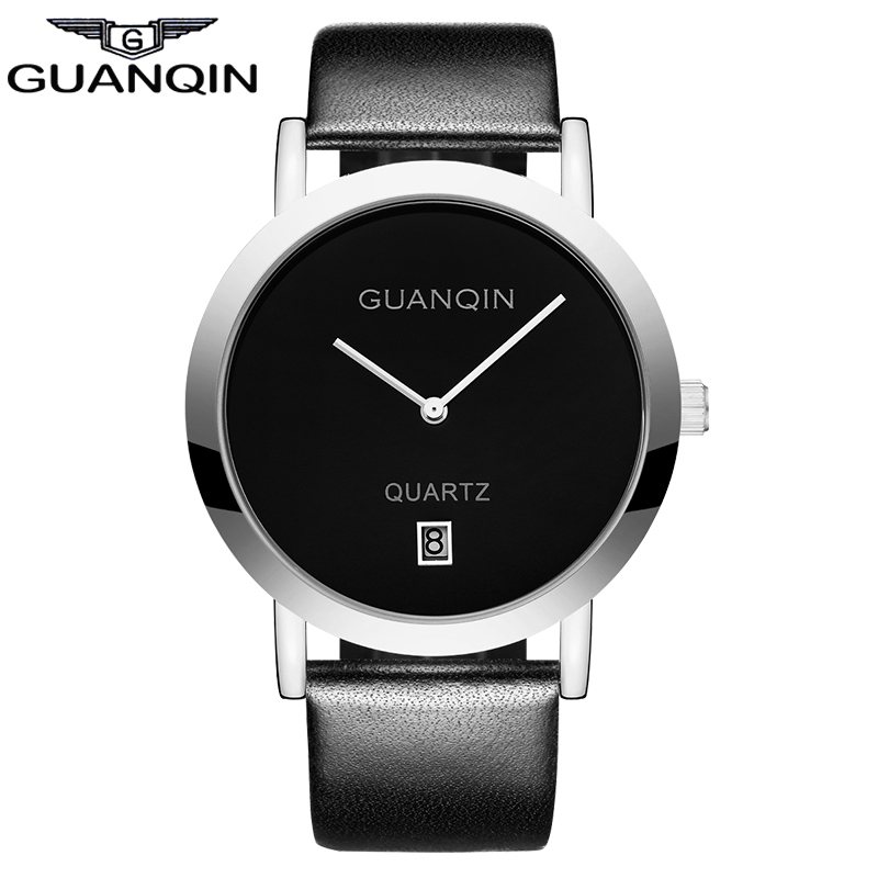 ФОТО Simple men Ladies Quartz Watch GUANQIN Ultra Thin Women Dress Watches Leather Wristwatch Men's business clock hours montre homme