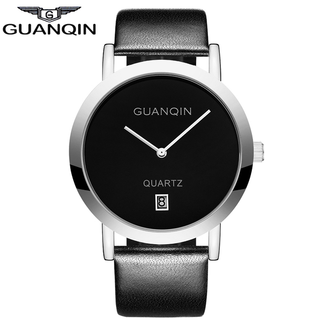 Simple men Ladies Quartz Watch GUANQIN Ultra Thin Women Dress Watches Leather Wristwatch Men's business clock hours montre homme