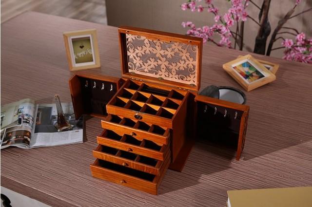 Luxury fashion Wooden princess huge super jewelry accessories storage organizer box case casket wedding Mother birthday