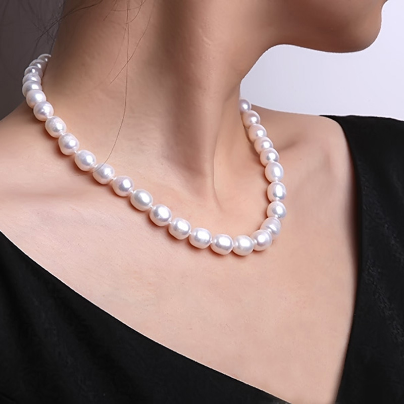 JYX Pearl Necklace White Oval Natural Freshwater Jewelry Choker Necklace Wedding Jewerly 18