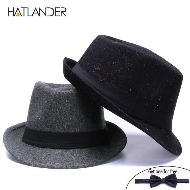 0abd652b638 ... HATLANDER Retro Gentleman panama fedora hat mens Jazz billycock cap  outdoor trilby chapeau Derby church hats