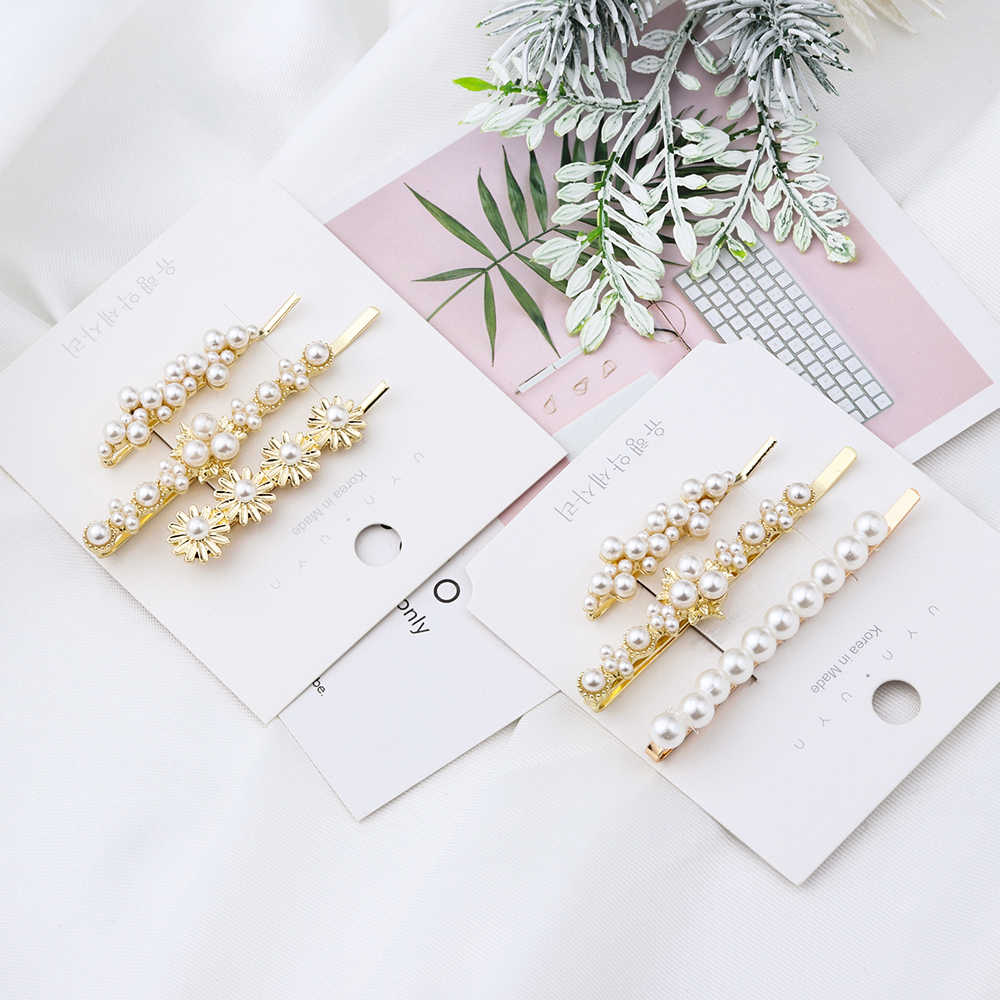 3Pcs/Set Women Rhinestone Pearls Hair Clip for Women Girls Metal Hairpin Ladies Barrettes Hairgrip Headwear Hair Accessories