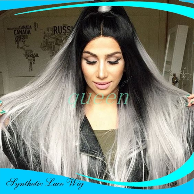 Ombre Wigs Two Tone Synthetic Lace Front Wig Gray Grey Silver Ombre