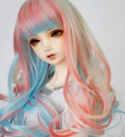 doll accessories 1/3 Bjd wig doll hair wig long straight big curl end colorful various colors girl female cute fringe bangs
