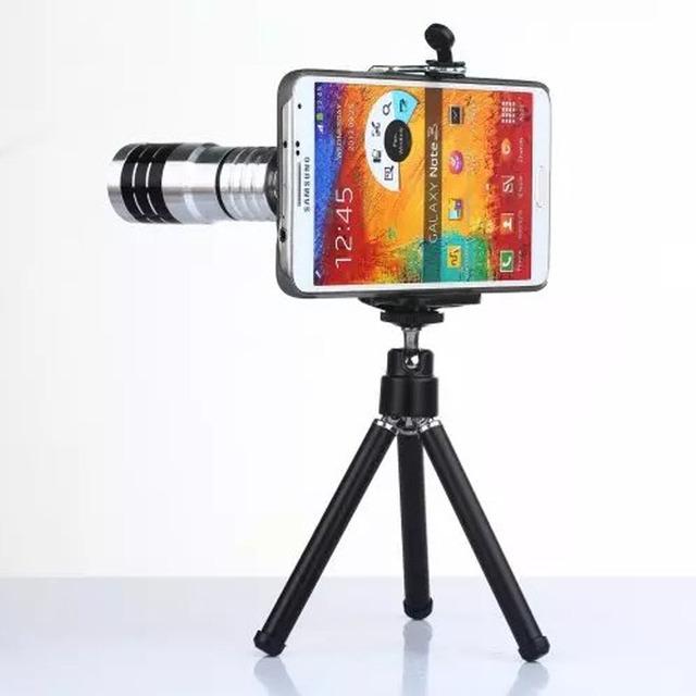 Portátil 20mm Metal 12X Zoom Telefoto HD Lente Da Câmera Do Telefone Móvel kit com grampo tripé e caixa do telefone para samsung galaxy note 3