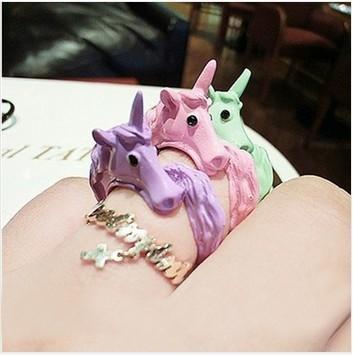 Hot venda de doces cor cavalo esmalte adorável ajustável partido Anel Femininos anéis anéis para mulheres 5 cor unicórnio FD-0881