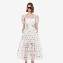 Sweet Women's Polka Dot Lace Cutout A-line Dresses cutout waist gold polka dot velvet top