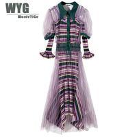 Уникальное дизайнерское платье 2019 Весна Высокое качество модный бренд 2 шт. Сетчатое платье + полосатый Сияющий нерегулярный вязаный миди п