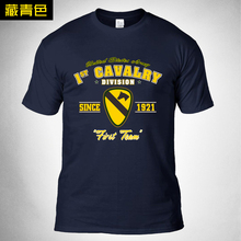2019 New Print O-Neck Men 100% Cotton Tshirt US Army 1st Cavalry Division Subdued Veteran Tactical hiking Hunting T-shirt