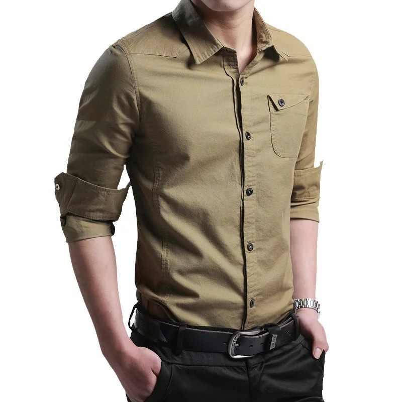 シャツ男性 new 薄型通気性の軍事男性シャツ長袖スリムメンズシャツ夏 2019 ビジネス男性ブランド服