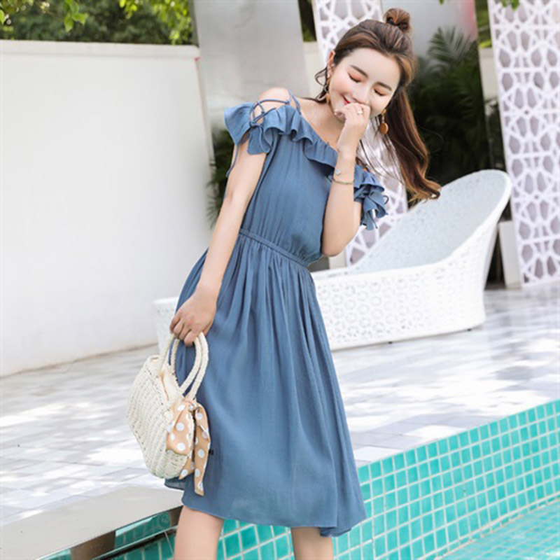 2019 Fashion New Designer Woman Dress Laced Slim Elegant One Shoulder Short Sleeve Blue Ruffle Casual Beach DressesFemale L203 in Dresses from Women 39 s Clothing