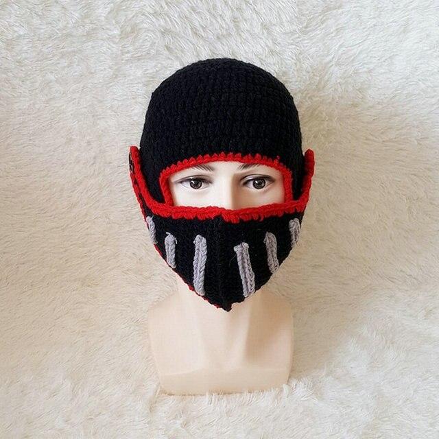 d00e9a7f33ef6 Male Knitted Knight Cap Winter Face Mask Balaclava Hats New Roman Knight  Helmet Caps Solider Shape Handmade Skullies Gorro YG604