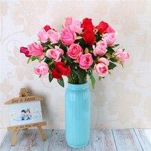 Fashion Decorative Fake Floral Bouquets Artificial Roses Flannel Flower Bridal Bouquet Wedding Party Home Decor 10 PCS/lot
