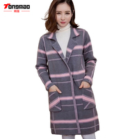 2016 New Autumn And Winter Fashion Wild Thin Long Sleeved Plaid Jacket Lapel Female Sweater Knitted