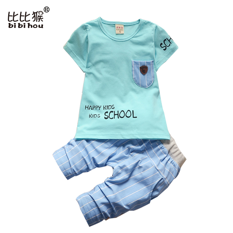 2017 new Summer Baby Boys Clothes Kids letter school Clothing Set boys suits Toddler Boys short sleeved T-Shirts+Children Shorts 017 summer baby boys clothing set kids clothes toddler boy short sleeved t shirts shorts girls clothing sets for kid