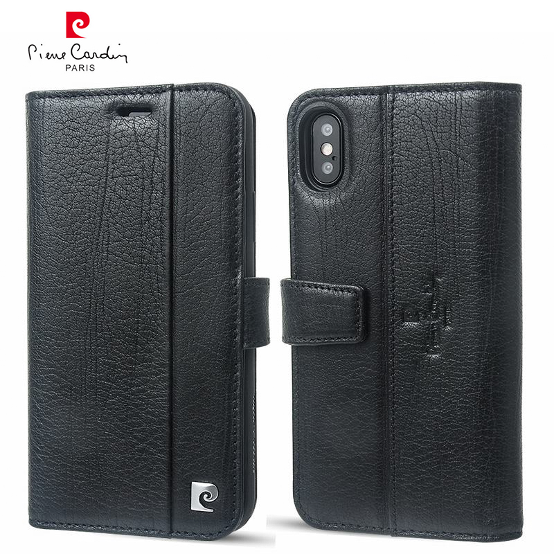 For iPhone X Case Original Pierre Cardin Genuine Leather Wallet Case For iPhone X Cover Luxury Hard Flip Case For iPhone X Card